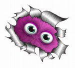 Ripped Torn Metal Design With Cute Furry Peeping Purple Monster Motif External Vinyl Car Sticker 105x130mm